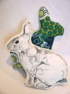 Seen on Etsy, rabbit pillow