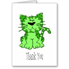 Shop Kitty Cat {Green} Blank Thank You Greeting Card created by tanyapecora. Thank You Greeting Cards, Thank You Greetings, Custom Thank You Cards, Paper Texture, Thankful, Kitty, Cats, Green, Prints