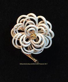 Vintage Monet White Enamel Flower Brooch | eBay