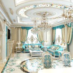 Beautiful Modern Ceiling Design You Are Looking For - Cornelius Adeniyi Luxury Bedroom Design, Luxury Home Decor, Luxury Interior Design, Luxury Homes, Interior Ideas, Mansion Interior, Living Room Interior, Blue And White Living Room, Royal Bedroom