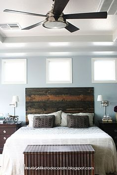Headboard with stained pre-cut boards. Mini Bedroom Makeover ~ Because I Like to Decorate - DIY Show Off ™ - DIY Decorating and Home Improvement Blog