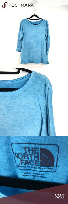 """The North Face Space Dyed long sleeve tee XL 828 The North Face Long Sleeve Knit T-Shirt Top Women's Size XL Space Dye Blue 828  Measurements: Bust:  21"""" Flat Across Length: 28"""" Long  In good preowned condition with no known flaws and light overall wear. The North Face Tops Tees - Long Sleeve"""