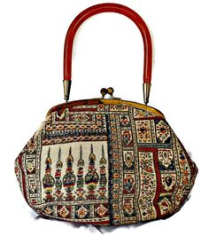Moroccan Lucite Handle Purse Tapestry Handbag by EclecticVintager