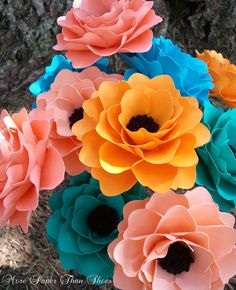 Paper Flowers - Handmade - Stemmed - Mixed Colors - Made To Order - Wide Variety Of Colors - Set of 12. $33.00, via Etsy.