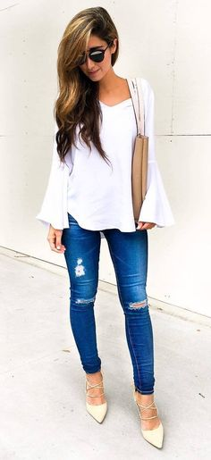 cool outfit: top + rips + bag