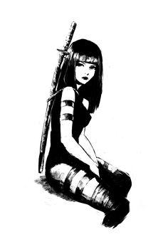 "ougibro: ""Day Sketch of Psylocke today, still one of my favorites. Anime Art Girl, Manga Art, Dark Anime Girl, Art Sketches, Art Drawings, Character Art, Character Design, Arte Cyberpunk, Japon Illustration"