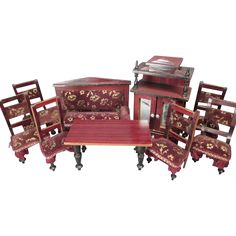 """Antique Kestner Dollhouse Furniture - 9 Piece Parlor Set with Faux Grain Finish and Velvet Upholstery - Made in Germany - 1"""" Scale"""