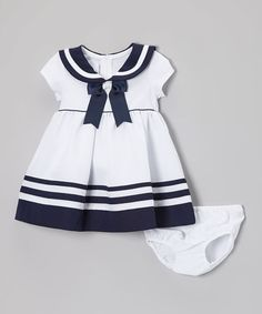 White & Navy Nautical Dress - Infant & Toddler #zulily #zulilyfinds