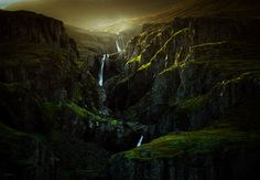 The Gates of Rivendell - The perfect backlight on a series of waterfalls beside the road in Reyðarfjörður, Eastfjords, Iceland. Artistically processed in Lightroom, but it really was a beautiful (and unexpected) sight to see. :-)