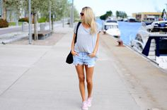 summer shorts and pink converse... Need a pair in light pink