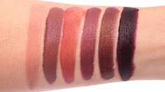 Urban Decay Vice Lipstick Palette in Blackmail Swatches - (L-R) Vanished, Ex-Girlfriend, Amulet, Conspiracy & Blackmail Urban Decay Vice Lipstick, Lipstick Palette, Conspiracy, Swatch, Beauty Products, Makeup Looks, Cosmetics, Make Up, Products