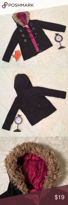 Girls Peacoat Size 5/6 In nice condition. Girls size 5/6 and black in color. Some light piling in some areas as normal for peacoats, but still cute. Comes from a pet free and smoke free home. Dollhouse Jackets & Coats Pea Coats