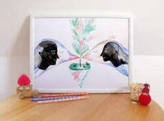 Items similar to Spring Love with Birds illustration Size Original Art Print on Etsy Bird Illustration, Green Wedding, A5, Original Art, Birds, Animation, Etsy Shop, Art Prints, Handmade Gifts