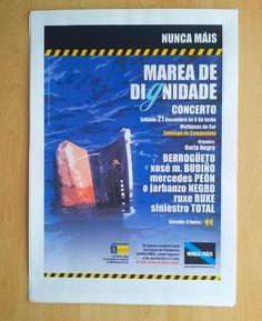 Cartel para convocatoria de concerto solidario. Nunca Máis. Galiza 2004