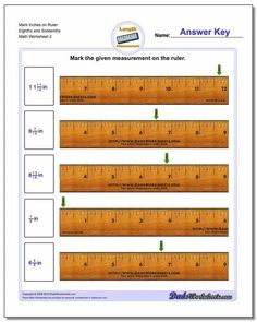 Measurement worksheets for identifying specific points on an imperial inch ruler including whole inch units and fractional inch units. Free printable PDF worksheets with answer keys! Measurement Worksheets, Free Printable Math Worksheets, Free Printables, Inch Ruler, Long Division, Multiplication And Division, Basic Math, Math Facts, Word Problems