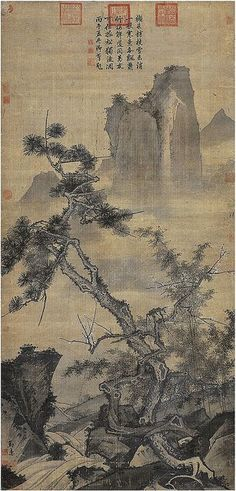 Three Friends of Winter: Pine, Bamboo, and Plum Blossom Paintings. Chinese Art Gallery at China Online Museum. Asian Landscape, Chinese Landscape Painting, Japanese Painting, Chinese Painting, Painting Gallery, Art Gallery, Sumi E Painting, Art Chinois, Art Asiatique