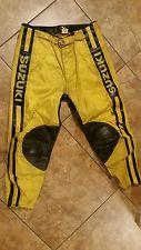 Vintage Motocross Suzuki Racing Leather Moto X Pants AHRMA Size 38 MX JT RACING
