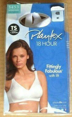 75e10b5e1b Playtex 18 Hour Bra 40B White 5453 Wirefree Fittingly Fabulous with Lift   fashion  clothing
