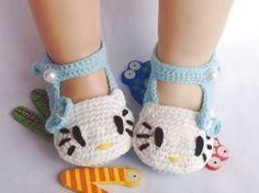 Häkeln Blau Hellokity Newborn Baby Schuhe