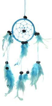 """A traditional dream catcher with feathers and beads. 3"""" x 9"""""""