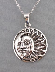 925 Sterling Silver Moon Sun Circle Pendant Necklace Jewelry NEW Celestial #unbranded #pendantl