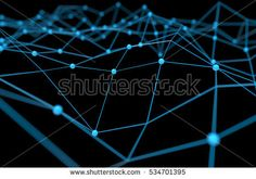 Blockchain network , Machine learning , deep learning and neural networks concept. Blue Distributed connection atom with black background , 3d rendering