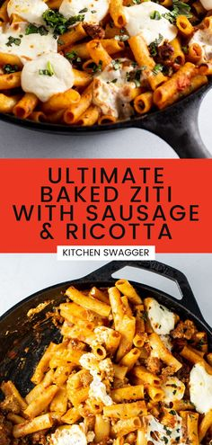 Rich and delicious, easy-to-make baked ziti made with ground sweet Italian sausage, melted ricotta and mozzarella cheese. All made in a single cast iron skillet, no boiling required. This recipe is really easy to make, and it's sure to be your favorite baked ziti! Yummy Pasta Recipes, Risotto Recipes, Steak Recipes, Easy Dinner Recipes, Skillet Recipes, Baked Ziti With Ricotta, Baked Ziti With Sausage, Baked Penne, Cold Pasta Dishes