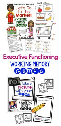 Occupational Therapy resources that address Executive Functioning skills in the area of working memory. Speech Language Pathology, Speech And Language, Memory Strategies, Working Memory, Pediatric Ot, Executive Functioning, Learning Disabilities, Multiple Disabilities, Memory Games