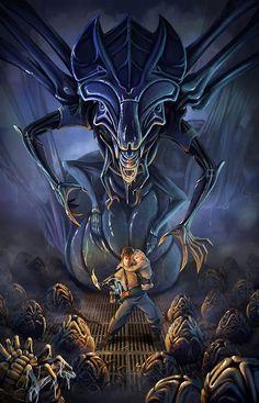 Aliens: Alien Queen and Ellen Ripley Alien Vs Predator, Predator Movie, Predator Alien, Science Fiction, Fiction Film, Alien Film, Alien Art, Alien Convenant, Les Aliens