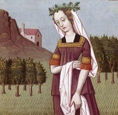 XIV-Hypermnestre, l'une des Danaïdes, reine des Argiens et prêtresse de Junon. Contrairement à ses quarante-neuf sœurs, elle épargne son mari Linus (ou Lynceus) lors de leur nuit de noces (HYPERMNESTRA, queen of the Argives and priestess of Juno) -- Giovanni Boccaccio (1313-1375), Le Livre des cleres et nobles femmes, v. 1488-1496, Cognac (France), traducteur anonyme. -- Illustrations painted by Robinet Testard -- BnF Français 599 fol. 14