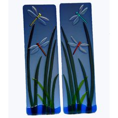 Dragonfly Marsh Fused Glass Wall Panels - Mill Creek GlassMill Creek Glass