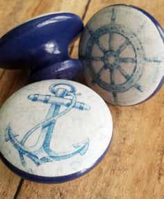 Handmade Nautical Knobs Drawer Pull Set  3 by SRVintageandDesigns