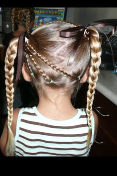 Little Girls Hair - oh I love this one! madison choose this one It looked cute but could not get the 3 bottom braids as tight as picture. Little Girl Hairdos, Lil Girl Hairstyles, Girls Hairdos, Princess Hairstyles, Girls Braids, Pretty Hairstyles, Braided Hairstyles, Kids Hairstyle, Teenage Hairstyles