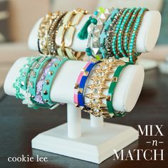 Minty, aqua, gold, and you! We love #cookielee #armparties #bracelets and #jewelry! #affordableaccessories