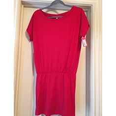 Red jersey knit dress. Cute red jersey knit dress. Dolman style top with a tighter pencil skirt style bottom. Xhilaration Dresses