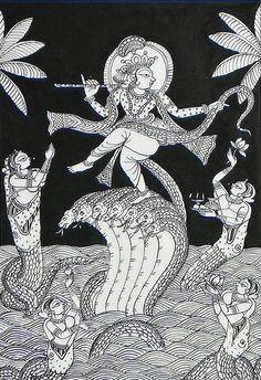 bhagwan Krishna Dancing on The Hood of Kaliya Nag (Phad Painting on Cloth) Indian Art & Culture Indian Traditional Paintings, Indian Art Paintings, Easy Paintings, Traditional Art, Madhubani Art, Madhubani Painting, Arte Tribal, Tribal Art, Om Namah Shivaya