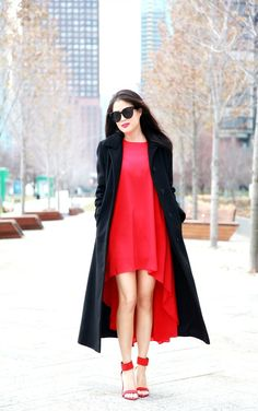 the little red dress Little Red Dress, Duster Coat, Cookie, How To Wear, Jackets, Dresses, Fashion, Down Jackets, Vestidos