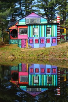 The Whimsical Rainbow House that Sweaters Built is by Katwise an artist with so much talent it jumps off the page. Tour her fun rainbow house called Calico. Rainbow House, Colourful Buildings, Colorful Houses, Fantasy House, Unusual Homes, Amazing Architecture, Classical Architecture, House Painting, House Colors