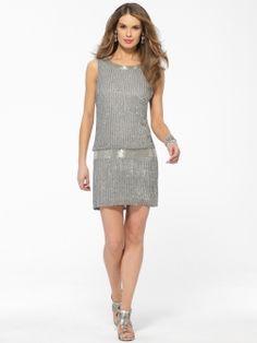Silver Beaded Drop Waist Dress