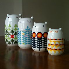 Storage Jars. Clearly the lovechildren of Tove Jansson and Orla Kiely. By Camila Prada