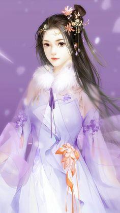 Fantasy Art Women, Beautiful Fantasy Art, Beautiful Anime Girl, Fantasy Girl, Chinese Drawings, Chinese Art, Lovely Girl Image, Art Costume, Ancient Beauty
