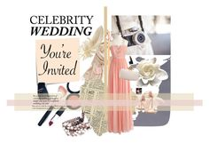 """Celebrity Wedding Invitation"" by maggieinthemoon ❤ liked on Polyvore featuring Post-It, Style & Co., J.Crew, Henri Bendel, Oscar de la Renta, Stuart Weitzman, NARS Cosmetics, Chanel, Mark Broumand and Essie"