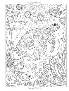 Creative Haven Fanciful Sea Life Coloring Book (Adult Coloring) Turtle Coloring Pages, Adult Coloring Book Pages, Mandala Coloring Pages, Animal Coloring Pages, Coloring Pages To Print, Free Coloring Pages, Printable Coloring Pages, Coloring Books, Coloring Pages Nature