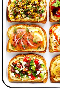 Hummus Toast is easy to make as a quick breakfast, lunch, dinner or healthy snack. It's totally customizable with your favorite toppings. And as you can imagine, it's also crazy delicious. Healthy Fast Food Breakfast, Gourmet Recipes, Healthy Recipes, Appetizer Recipes, Healthy Eats, Dessert Recipes, Tomatoes On Toast, Marinated Salmon, Homemade Hummus