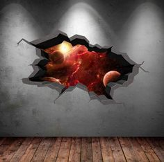Wall Stickers Stars, 3d Wall Decals, Wall Murals, Break Wall, Cracked Wall, Earth Design, Space Planets, Smooth Walls, Removable Wall