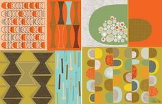 The Kansas City Modern Quilt Guild: Mid-Century Inspiration Mid Century Art, Mid Century Decor, Mid Century House, Mid Century Style, Modern Color Schemes, Modern Color Palette, Modern Patterns, Mid Century Modern Colors, Mid Century Modern Design