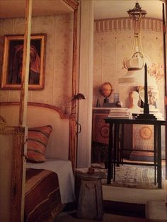 Stephen Sills and James Huniford Beautiful Interiors, Interior Architecture, Oversized Mirror, Sleep, 1920s, Furniture, Color, Bedrooms, Walls