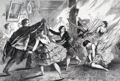 """Detail of ballerinas on fire at the Continental Theatre, September 14, 1861. """"Fire at the Ballet,"""" Frank Leslie's Illustrated Newspaper  Unfortunately, when the visual imperatives of staging and costume outweighed the practical necessities of the job, it exposed the legs of the dancer both to the eyes of the spectator and to gas footlamps.  #fashionvictims #ballet #halloween"""