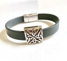 Silver Heart Leather Cuff Bracelet Multi Strand Leather Fancy Heart Slider Silver Magnetic Clasp Valentine Gift for Her Birthday Gift A22