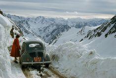 woman surveys a treacherous mountain pass in the Pyrenees of France, 1956